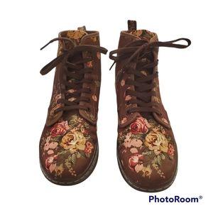 Dr. Martens Shoreditch Victorian flower floral brown canvas boot size 8